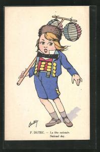 Künstler-AK sign. P. Dutec: National Day, Junge in Tracht mit Lampions
