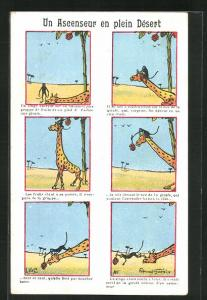 Künstler-AK sign. Edmond Guenin: Un Ascenseur en plein Desert, Affe klettert Giraffe um an Früchte zu kommen
