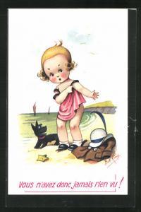 Künstler-AK sign. Bob King: Mädchen am Strand mit Hund, Vous n`avez donc jamais rien vu