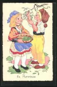 Künstler-AK sign. Luce Andre: Junge pflückt Obst von Baum und Mädchen hält Korb, en Provence