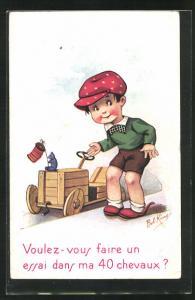 Künstler-AK sign. Bob King: Junge mit seiner Seifenkiste