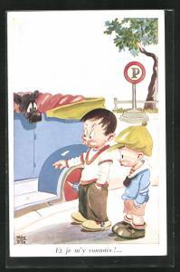 Künstler-AK sign. Max Otto: Zwei Jungen unterhalten sich vor Hund im Auto, Et je m`y connais!...