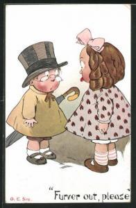 Künstler-AK sign. G. E. Sim: Furver out, please, Junge mit Hut und Schirm vor Mädchen