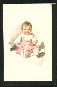 Künstler-AK sign. Elda Cenni: Kleinkind mit einem Schuh sitzt auf dem Boden