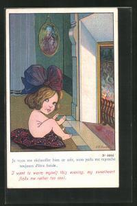 Künstler-AK sign. S. Gibson: Je veux me rechauffer bien ce soir..., Frau sitzt auf einem Kissen vor dem Kamin