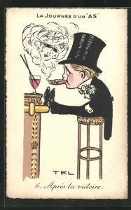 Künstler-AK sign. Tel: La Journee d`un As, Apres la victoire, Mann mit Zigarre in der Bar