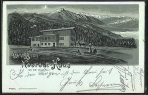 Mondschein-Lithographie Neureut-Haus mit Blick auf die Bergwelt der Alpen