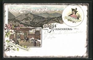 Lithographie Hirschberghaus, Panorama mit Karwendel und Zugspitze