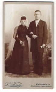 Fotografie L. Kny, Ebersbach i/S, Portrait Braut und Bräutigam, Hochzeit