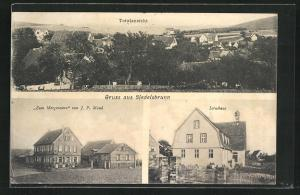 AK Siedelsbrunn, Gasthaus zum Morgenstern, Schulhaus