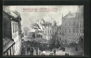 AK Greiz, Brand vom 13. November 1908, Brennende Geschäftshäuser der Marktecke