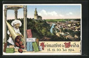 AK Weida, Heimatfest Juli 1914, Ortsansicht, Niese`s Vanille-Dessert-Mandeln