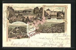 Lithographie Bad Laasphe, Gasthaus Fasanerie von Franz Fischer, Schloss Wittgenstein