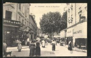 AK Orange, Rue de la Republique, Strassenpartie