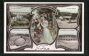 AK Nimes, Le Pont du Gard, Les Bains Romains, Vue Interieur des Arenes