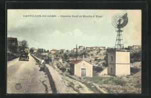 AK Castillon-du-Gard, Chemin Neuf et Moulin a Vent