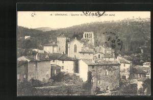 AK Genolhac, Quartier de l`Eglise Sainte Pierre XIe siecle