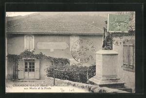 AK Chamborigaud, Le Monument aus Morts et la Poste