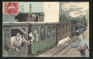 AK Grau-du-Roi, Ankunft am Bahnhof, Mole mit Leuchtturm