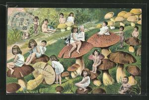 AK Kleine Mädchen sitzen auf Pilzen