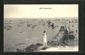 AK Cancale / Cote d`Emeraude, Le Phare, La Jetee et la Caravane, Leuchtturm umd Segelboote