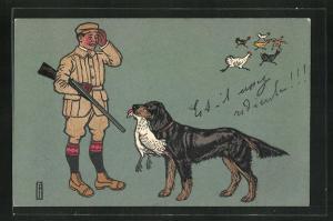 AK Jäger mit Gewehr und Hund mit Huhn