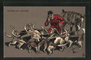 AK Chiens de Chasse, Jäger mit Hunden