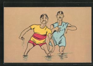 AK Zwei Männer in Bademode im Wasser