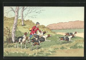 AK Jagdhunde werden von Jäger auf die Jagd geschickt