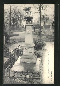 AK Asnières, Cimetière des Chiens / Hundefriedhof, Grab von Toto