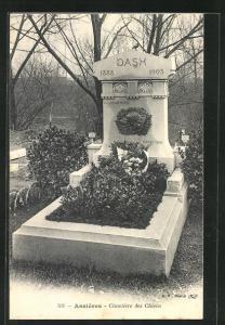 AK Asnières, Cimetière des Chiens / Hundefriedhof, Grab von Dash