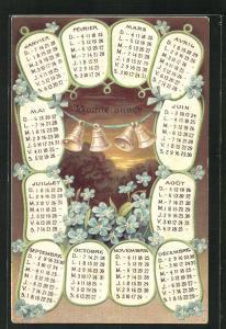 Präge-Lithographie Kalenderblätter und Neujahrsglocken
