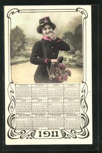 AK Kalender 1911, Dame als Briefträger mit Rosen