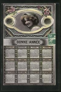 AK Bonne Annee, Kalender und Mädchenportrait