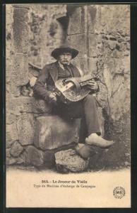 AK Le Joueur de Vielle, Type de Musicien d`Auberge de Campagne, Drehleier