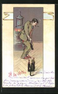 AK Mann öffnet Weinflasche an Ofen, A la Votre, Trinkerhumor
