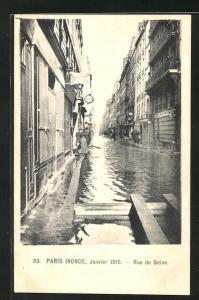 AK Paris, Inondaé 1910, Rue de Seine, Hochwasser
