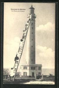 AK Concour der Mollets, Un Phare pris d`assaut, Montage, Damen auf Leiter klettern auf Leuchtturm