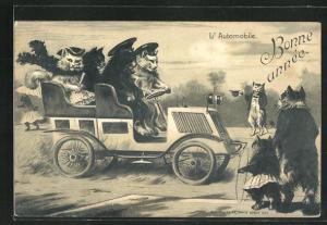 Präge-Lithographie Bonne Année - L`Autombobile, Katzen in Auto