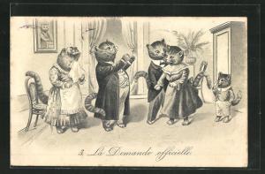Lithographie La Demande officielle, Kater hält um die Hand von Katze an