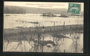 AK Bonniers-sur-Seine, Inondations 1910, La Seine vue de la Gare, Hochwasser