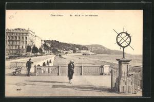 AK Nice, Strandpromenade mit Uhr, Le Méridien