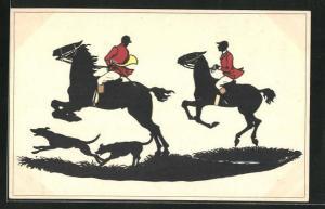 AK Schleppjäger mit Hunden reiten ihre Pferde, Pferdesport