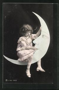 AK Mädchen reitet auf der Mondsichel