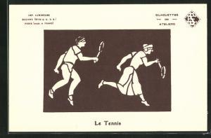 AK Studie zweier Tennisspieler, Halt gegen das Licht