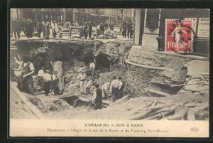 AK Paris, L`Orage du 15 Juin, Rue de la Boetie, Erdrutsch