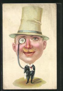 AK Herr im Anzug mit einem sehr grossen Kopf und Monokel