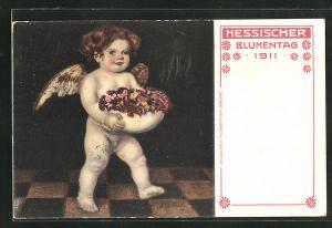 AK Darmstadt, Hessischer Blumentag 1911, Englein mit Blumen