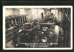 AK Compagnie de Construction Mecanique Procedes Sulzer, Fabrikarbeiter montieren Passagierschiff Jules Verne