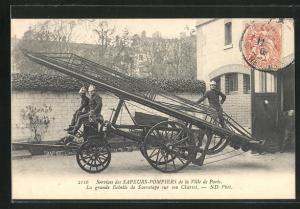 AK Paris, Sapeurs-Pompiers, La grande Echelle de Sauvetage sur son Chariot, Feuerwehr